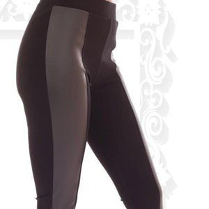 DESIGNER TUMMY CONTROL LEGGINGS WITH FAUX LEATHER